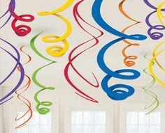 Rainbow Plastic Swirl Decorations
