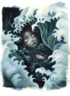 illustration from Ondine by Benjamin Lacombe Ghost In The Machine, Ondine, Photo D Art, Art Et Illustration, Pop Surrealism, Modern Surrealism, Photomontage, Dark Art, The Little Mermaid