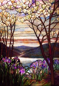 Magnolias and Irises :: Louis Comfort Tiffany stained glass window, Stained Glass Designs, Stained Glass Projects, Stained Glass Patterns, Stained Glass Art, Stained Glass Windows, Tiffany Stained Glass, Tiffany Glass, Tiffany Art, Art Nouveau