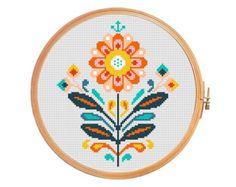 Flower crescent modern cross stitch by PatternsCrossStitch