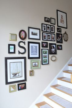 Stairway gallery wall - different frames and miscellaneous art emily ann, staircase wall decor, Stairway Gallery, Gallery Walls, Decoration Shabby, Stair Walls, Diy Casa, Frames On Wall, Picture Frames On The Wall Stairs, Picture Wall, Photo Wall