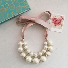 Lovely handmade pearl necklace Ann Marie pearl and ribbon necklace Hwl boutique Jewelry Necklaces