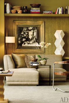 A richly-textured green sitting room in designer Terry Hunziker's Seattle apartment.