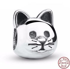 Curious Lovely Cat Charm Bead for Pandora Bracelet   Keren-Center watches & jewelry