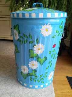 20 Gallon Hand Painted Galvanized Metal by krystasinthepointe, $99.00