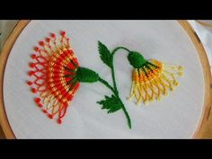 Hand Embroidery Patterns by HandiWorks: Flowers and florals are popular embroidery motifs and are available in a range of styles from classic to contemporary. Hand Embroidery Videos, Hand Embroidery Flowers, Embroidery Stitches Tutorial, Crewel Embroidery, Hand Embroidery Patterns, Embroidery Techniques, Ribbon Embroidery, Cross Stitch Embroidery, Simple Embroidery