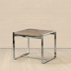 $418 old elm stainless steel square side table/ coffee table -ZZKKO