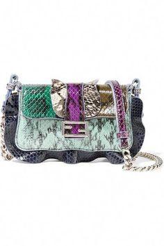 762ec7cc683 FENDI Baguette Micro Ruffled Elaphe And Leather Shoulder Bag.  fendi  bags   shoulder
