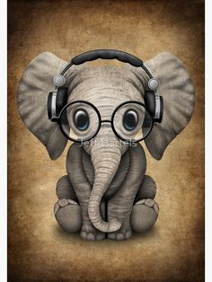 Cute Baby Elephant Dj Wearing Headphones and Glasses on Blue. This adorable baby elephant illustration, is available on many products. Elephant Wallpaper, Elephant Artwork, Cute Baby Elephant, Cute Baby Animals, Baby Elephant Drawing, Cartoon Elephant, Cute Cartoon Animals, Cute Animal Drawings, Cute Drawings
