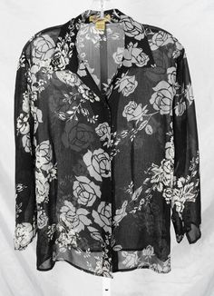 Notations XL Blouse Black Gray Roses Floral Top Shirt Misses Sheer 3/4 Sleeve