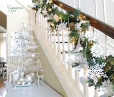 holiday staircase. Pearls, lights & snowflakes.