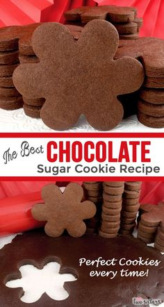 This is truly the The Best Chocolate Sugar Cookie Recipe you've ever had. Tastes like chocolate but bakes up like the best rolled sugar cookies you've ever made. Super chocolatey - no chill dough - ho Nutella Cookie, Chocolate Sugar Cookie Recipe, Sugar Cookie Recipe Easy, Chewy Sugar Cookies, Rolled Sugar Cookies, Best Sugar Cookies, Roll Cookies, Peanut Butter Cookie Recipe, Easy Cookie Recipes