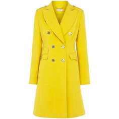 Karen Millen Military moleskin coat (¥35,470) ❤ liked on Polyvore featuring outerwear, coats, jackets, coats & jackets, yellow, women, karen millen, yellow coat, military coat and military fashion
