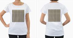 Pug+Tile+Bg+Women's+Loose-Fit+T-Shirt+(White)