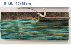 fisherman art ceramic wall sculpture - ceramic art 17x45cm//inspiration for using a board and wrapping with yarn or fabric strips....