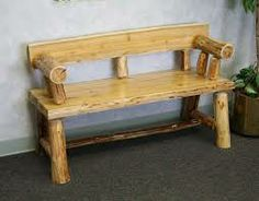 The Morgans Log Bench http://www.cabincountrydecor.com/wp-content/uploads/2011/06/log-furniture.6-16.porch-bench1.jpg