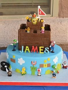 What a fun Mario Birthday Party cake! See more party ideas at CatchMyParty.com!