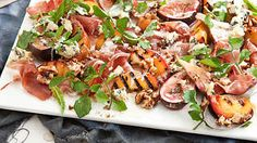 Chargrilled peach and roasted fig salad with prosciutto, creamy blue cheese and walnuts recipe : SBS Food