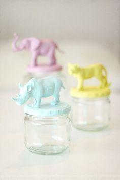 Baby food jar + animal figurine + paint.