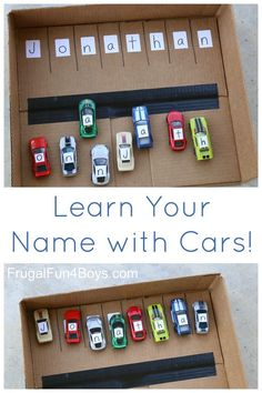 Name learning activity for preschoolers with Hot Wheels or Matchbox cars