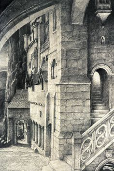 Alan Lee Minas Tirith (off 'Castles') Alan Lee, Medieval, Lotr, Minas Tirith, O Hobbit, J. R. R. Tolkien, Into The West, Legolas, Gandalf