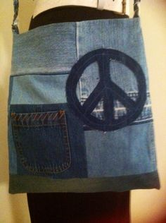 Hippie Boho Gypsie Recycled Blue Jean Peace Bag Purse by jeanoligy, $18.90