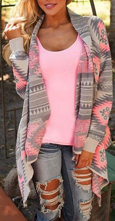Pink Chevron Geo Cardigan ❤︎