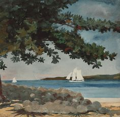 Nassau: Water and Sailboat - Winslow Homer, 1899 American, 1836-1910 Watercolour on paper, 38.1 × 38.7 cm (15 × 15.2 in)