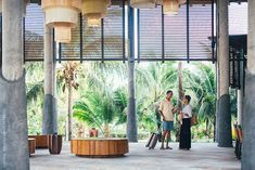 Senior Couple Arrives at a Tropical Resort by Lumina - Stocksy United Tropical Interior, Modern Tropical, Tropical Design, Tropical Architecture, Hotel Architecture, Resort Interior, Hotel Lobby Design, South Beach Hotels, Public Space Design