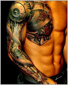 Full sleeve and half chest Biomechanical tattoo - I am not a big fan of biomech tattoos, but men really look good with it. #TattooModels #tattoo