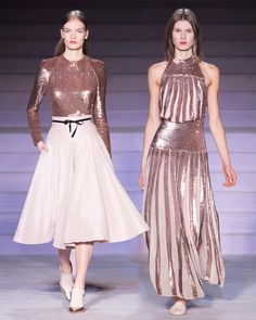 The Filigree Top, Palm Skirt and Filigree Dress on the runway at Ballet Fashion, Fashion 2017, Casual Chic, Dress Skirt, Temperley, Runway, Sequins, Style Inspiration, Filigree