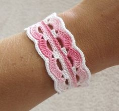 Vintage Inspired Crochet Bracelet in White and Pink by KweenBee