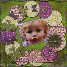 Pretty One Photo Layout in Greens and Purples