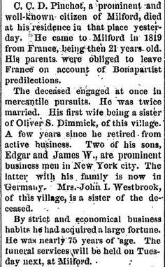 Obituary, C.C.D. Pinchot, The evening gazette., January 17, 1874, Page 1