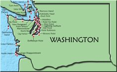 Washington Map  I've been to five: Browns Point, Point Wilson, Grays Harbor, North Head, and Cape Disappointment