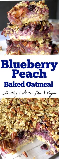 This Blueberry Peach Baked Oatmeal is topped with a scrumptious streusel is the perfect healthy breakfast that tastes like dessert. It is filled with fresh summer fruit and is vegan Healthy Oatmeal Recipes, Best Vegan Recipes, Healthy Breakfast Recipes, Dairy Free Recipes, Clean Eating Recipes, Brunch Recipes, Vegan Gluten Free, Baking Recipes, Delicious Recipes