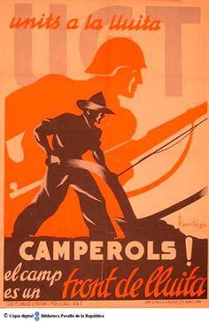 Camperols! : el camp és un front de lluita : units a la lluita :: Cartells del Pavelló de la República (Universitat de Barcelona)
