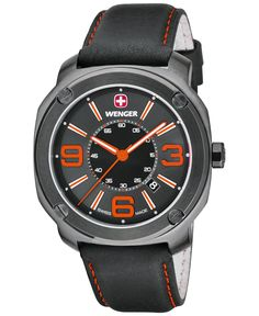 Wenger Men's Swiss Escort Black Leather Strap Watch 46mm 01.1051.107 - Men's Watches - Jewelry & Watches - Macy's