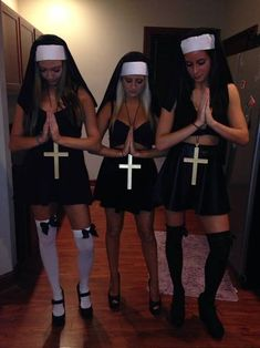 Halloween is a time to pull out some unique Halloween costumes for best friends! So we found some great Group Halloween Costumes for you and your best friends. Look at a list of these super cool Girlfriend Group Halloween Costumes, and you can find s Nun Costume, Cute Group Halloween Costumes, Halloween 2013, Couple Halloween, Frat Boys Costume, Bratz Halloween Costume, Halloween Outfits For Women, Halloween Party, Girl Group Costumes