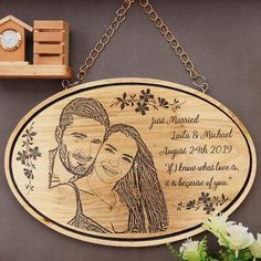 Description Just Married! If I know what love is, it is because of you A hanging wooden sign engraved with a couple photo to celebrate the beginning of your married life. This 'Just Married' hanging sign with a wood engraved photo of you and your better half is a unique wedding gift to mark the beginning of your married life. This photo on wood is one of the best wedding gifts for husband or wedding gifts for wife. Looking for a romantic gift? This personalized gift is the best gift for your bel Custom Wedding Gifts, Unique Wedding Gifts, Wedding Gifts For Couples, Personalized Wedding Gifts, Sentimental Wedding Gifts, Thoughtful Wedding Gifts, Plan My Wedding, Wedding Stuff, Just Married