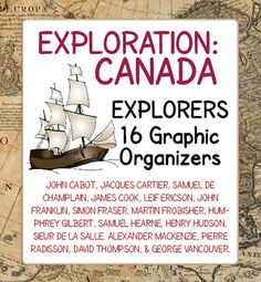 Explorers to Canada - 15 Graphic Organizers: this resource includes  organizers for fifteen explorers that made an important contribution to Canadian history: John Cabot, Jacques Cartier, Samuel de Champlain James Cook, Leif Ericson, John Franklin, Simon Fraser, Martin Frobisher, Humphrey Gilbert, Samuel Hearne, Henry Hudson, Sieur de La Salle, Alexander Mackenzie, Pierre Radisson, David Thompson, and George Vancouver.Each explorer has a graphic organizer for students to complete with…