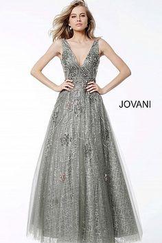Silver Embellished A line Plunging Neckline Evening Dress 53041 720548bef