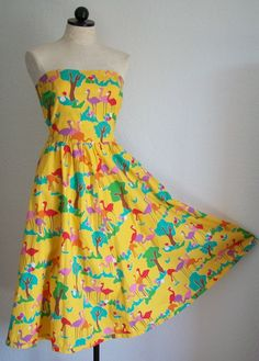 SOLD!!! Yellow Flamingo Print Strapless Full Sweep Hemline Sundress, SOLD!!!