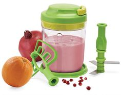 Orange/Pomagranite Smoothie!  (Serves 2)   Tupperware Recipe: Ingredients:  3/4 cup pomegranate juice 1/2 cup orange juice 1 cup low-fat vanilla frozen yogurt.. Place all ingredients into base of Smooth Chopper with blade attachment. Replace cover, pull cord and blend until smooth. Pour into tumblers and enjoy.