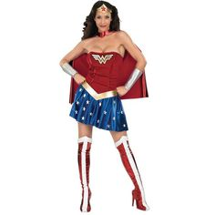Wonder Woman Adult Costume This Amazon beauty has been given powers by the Greek gods and goddesses. Deluxe costume includes red & blue strapless mini dress with Wonder Woman logo, star accents, red cape, gauntlets, red velvet & white boot tops*, and gold tiara with a red star (Note: Tiara is slightly smaller than pictured). Available in Adult sizes: X-Small, Small, and Medium. *Please Note: It has just come to our attention that due to a manufacturer error there maybe some bleeding of color…