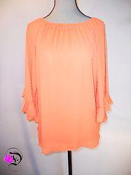 Neon Orange Ruffle 3/4 Sleeve Top $32.99 Divalicious