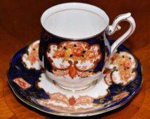Royal Albert Heirloom Demitasse  Cup Saucer Set Imari   English Bone China  Pristine  Shape Delicate