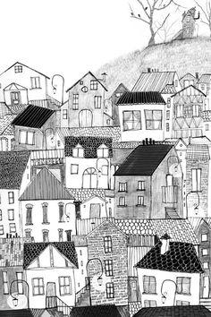 Anuska Allepuz: Inspiration for drawing imaginary towns Building Illustration, House Illustration, Graphic Illustration, Line Drawing, Painting & Drawing, House Quilts, House Drawing, Urban Sketching, Naive Art