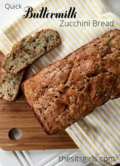 Everyone loves a good quick bread. This buttermilk zucchini bread recipe is perfect. It bakes up moist and the buttermilk gives it a great zing. Zucchini Bread Recipes, Easy Bread Recipes, Quick Bread, Real Food Recipes, Cooking Recipes, Yummy Food, Tasty, Yummy Yummy, Yummy Recipes