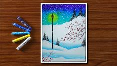 Easy Winter Season Scenery Drawing for Beginners with Oil Pastels - Step. Oil Pastel Drawings Easy, Oil Pastel Paintings, Oil Pastel Art, Oil Pastels, Sunset Painting Easy, Drawing Sunset, Crayon Painting, Crayon Art, Scenery Drawing For Kids